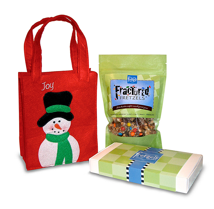 Chocolate covered pretzels holiday gift bag christmas